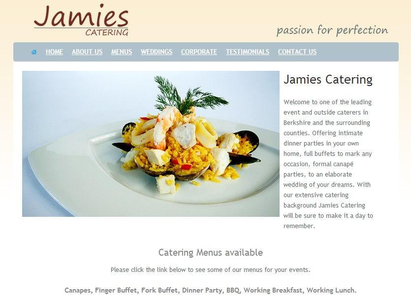 Jamies Catering website