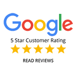 This is an image representing the Google 5 star customer reviews rating .