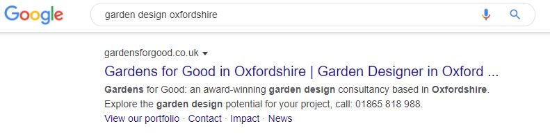 Local seo gardens for good screenshot showing their garden design business in Oxfordshire on page 1 of google